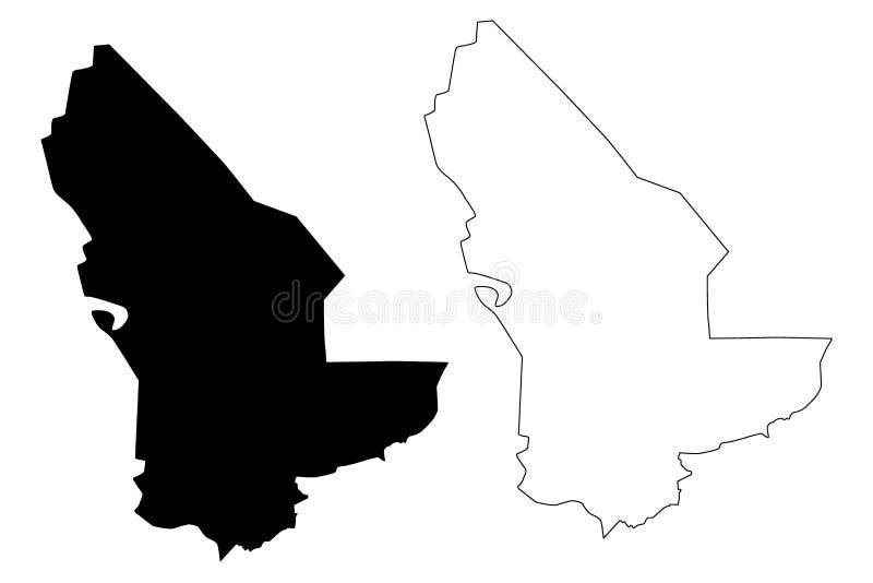 Mary Region Republic of Turkmenistan, Districts of Turkmenistan map vector illustration, scribble sketch Mary Province map.  vector illustration