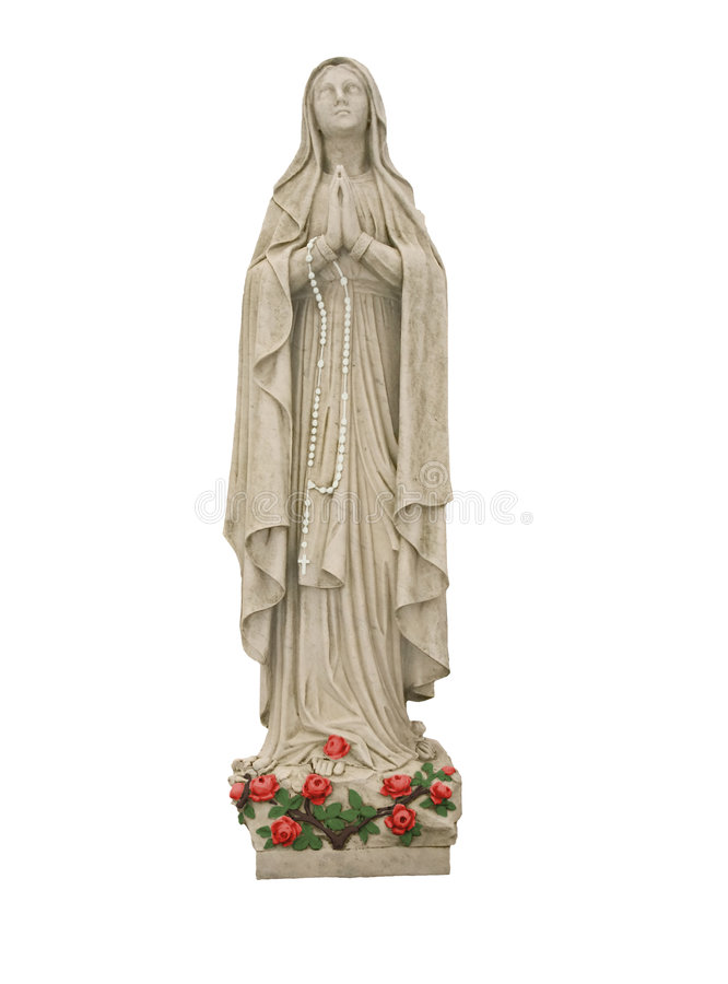 Mary With Roses and White Rosary Beads stock image