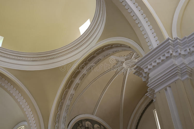 Mary`s Assumption Cathedral arquitectonic ceiling, Leon royalty free stock image