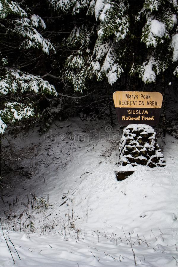 Mary's Peak Recreational Area Siuslaw National Forest Sign by Road in Philomath Oregon stock photo