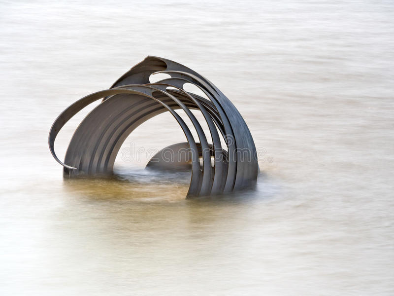 Mary's Shell sculpture at high tide. Cleveleys beach, Lancashire, UK stock image