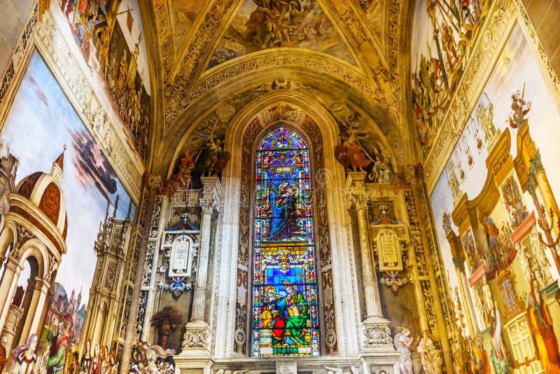 Mary Stained Glass Frescoes Santa Maria Novella Church Florence Italy foto de stock