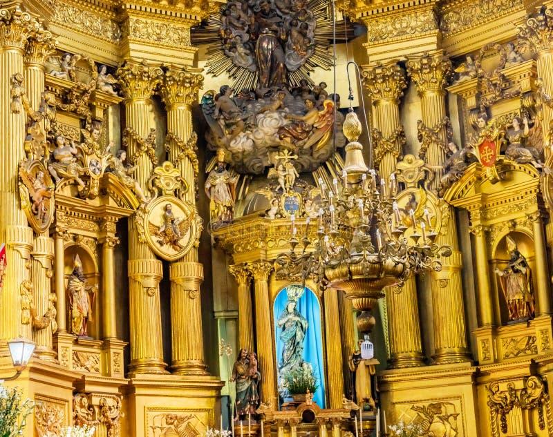 Mary Statue Basilica Altar San Francisco Church Mexico City Mexico fotografie stock libere da diritti