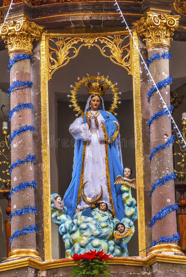 Mary Statue Convent Immaculate Conceptions-Nonnen San Miguel Mexiko stockfotografie