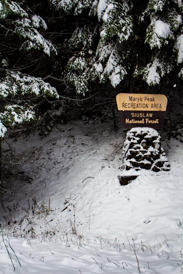 Mary terenu Siuslaw lasu państwowego Szczytowy Rekreacyjny znak drogą w Philomath Oregon zdjęcie stock