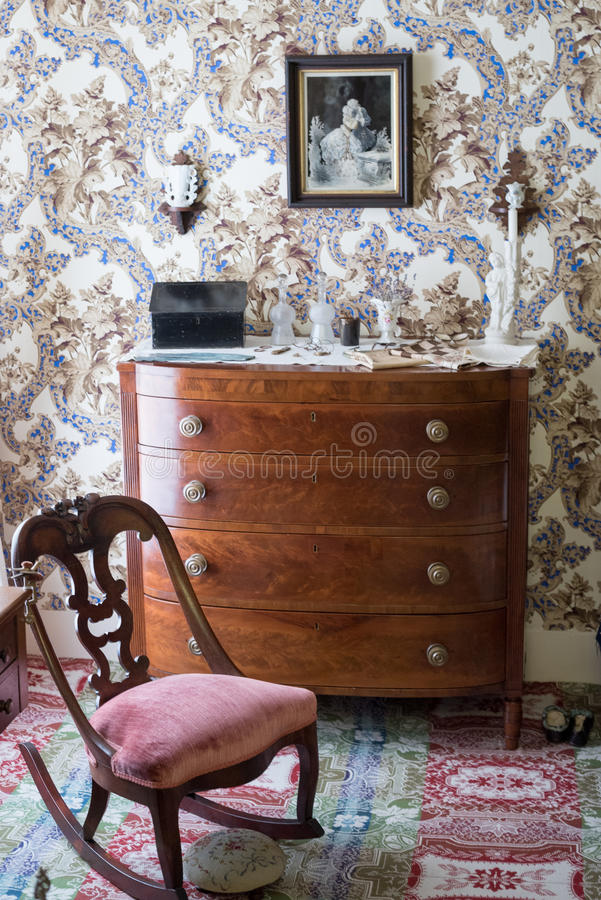 Mary Todd Lincoln`s Dresser. Dresser Owned by Mary Todd Lincoln and Lincoln Home Historic Site in Springfield, Illinois stock image