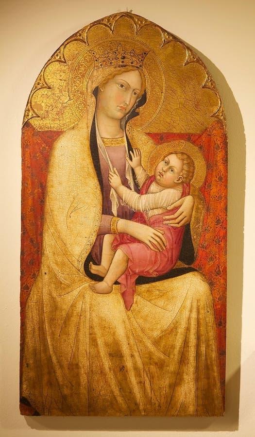 Mary und Jesus, Plattenmalerei, Siena, Italien lizenzfreies stockbild