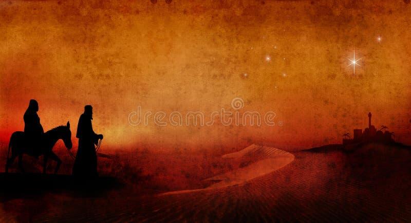Mary und Joseph über Wüste 2 lizenzfreie abbildung