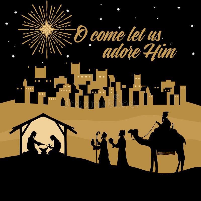 Mary und Joseph mit dem Baby Jesus Krippe nahe der Stadt von Bethlehem Weise Männer gehen, Christus anzubeten lizenzfreie abbildung