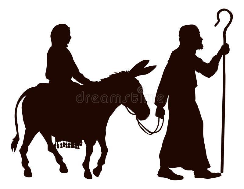 Mary- und Joseph-Schattenbilder lizenzfreie abbildung