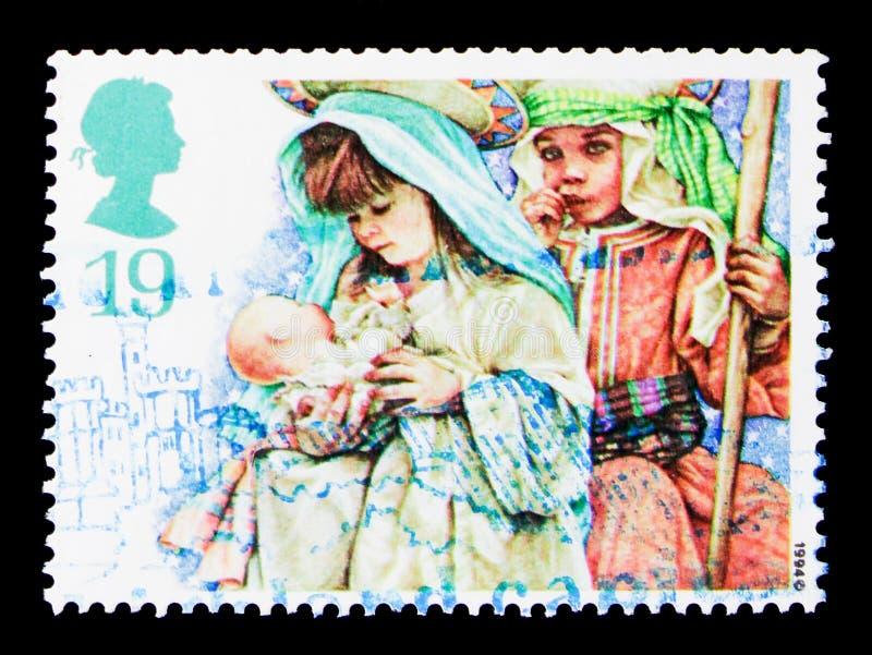 Mary und Joseph, Weihnachten 1994 - Kind-` s Geburt Christis-Spiele serie, circa 1994 lizenzfreie stockfotografie