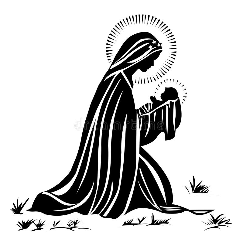 Mary und Schätzchen Jesus lizenzfreie abbildung
