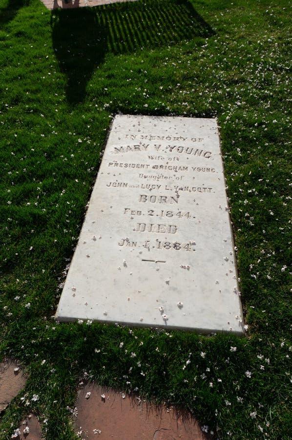 Mary Van Cott Youngs, Ernstige steen, bij Mormoons Pioniersgedenkteken, D royalty-vrije stock afbeelding