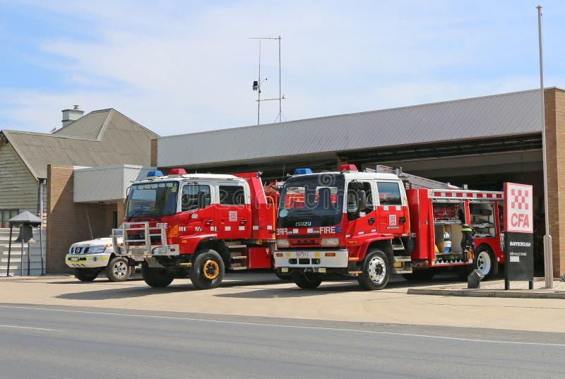 Maryborough国家火与车的当局(CFA)驻地准备好行动在一总火禁令天 库存照片