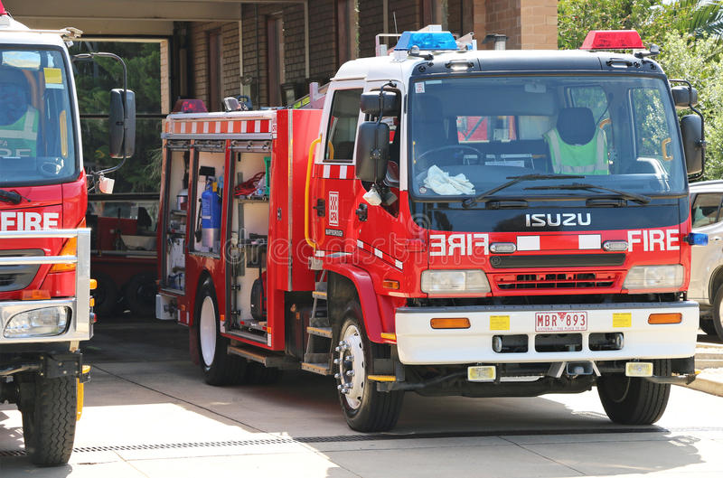 Maryborough Country Fire Authority (CFA) station with vehicles ready for action on a Total Fire Ban day stock image