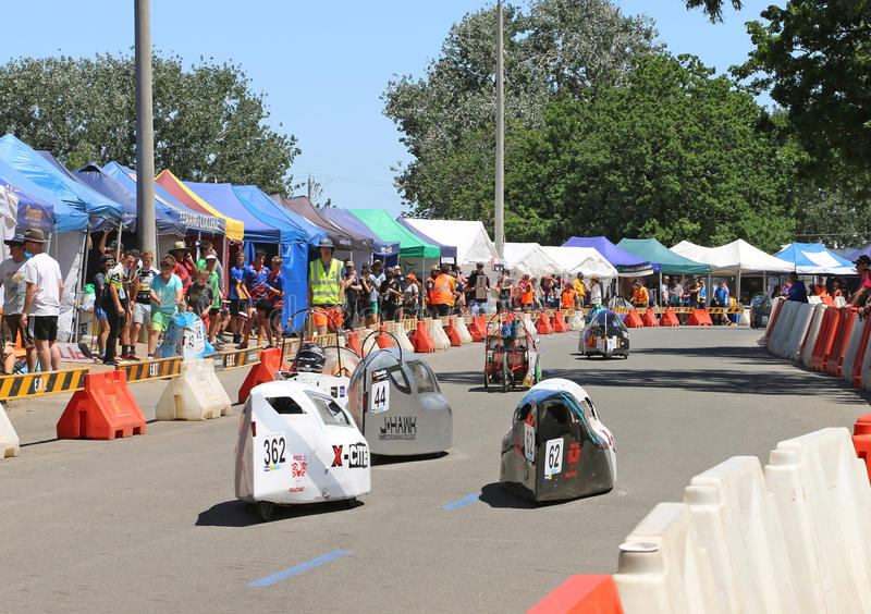 Maryborough hosts a 24-hour trial in which schools from around Australia race their human- and hybrid-powered vehicles. MARYBOROUGH, VICTORIA, AUSTRALIA stock photography