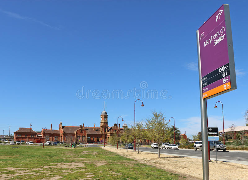 MARYBOROUGH, VICTORIA, AUSTRALIA - The current red brick building of the Maryborough Railway Station was erected in 1890 stock photos