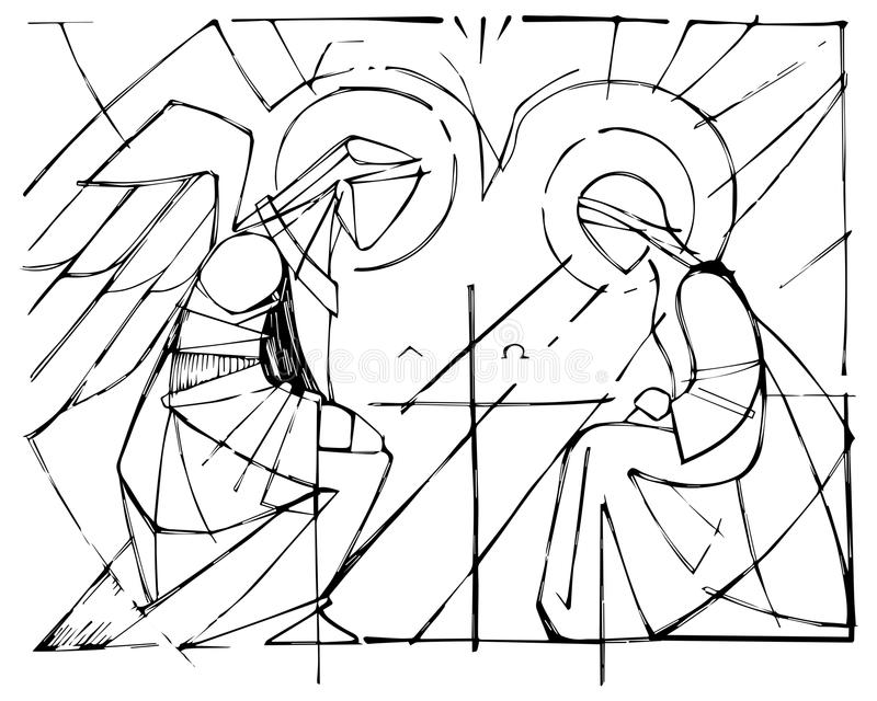 Maryja Dziewica i Gabriel archanioł przy Annunciation ilustracja wektor