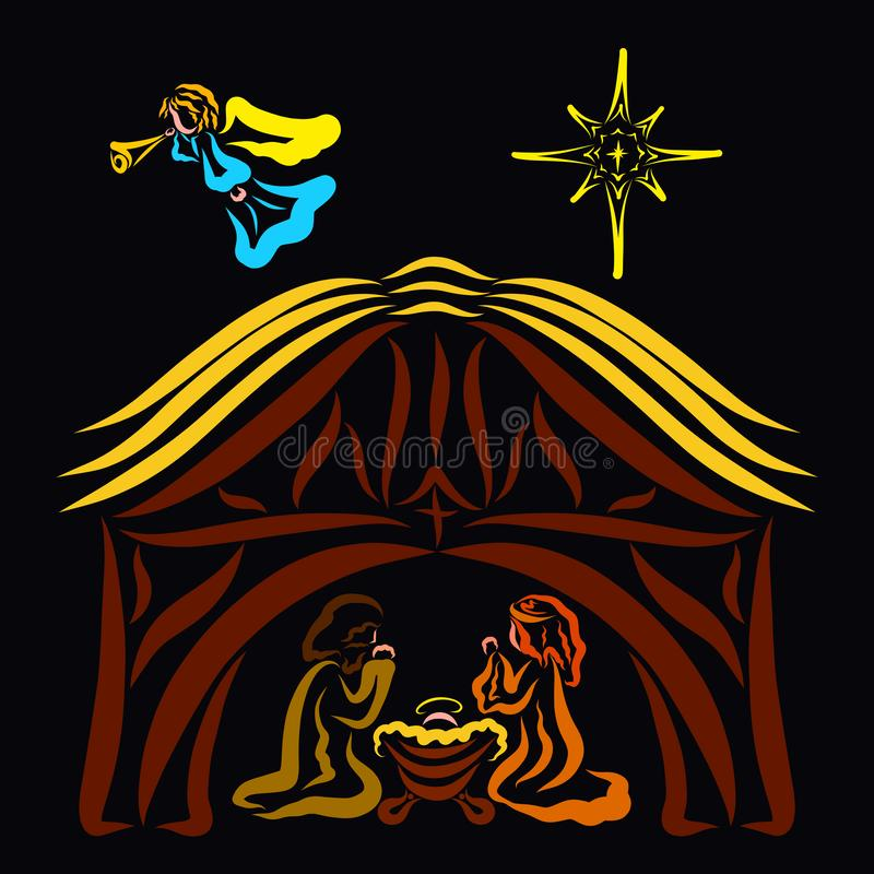 Maryja Dziewica, nowonarodzony Jezus i Joseph w stajni, anioł i ilustracji
