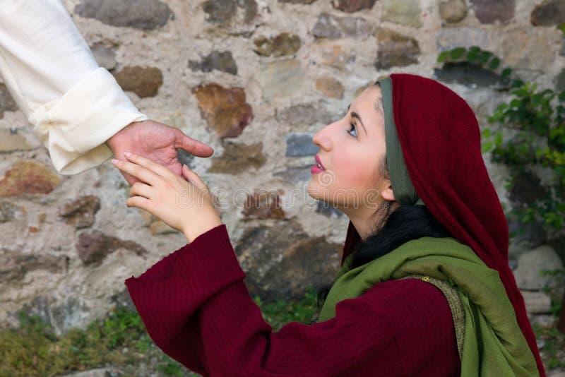 Maryjny Magdalene widzii Jezus na Wielkanocnym ranku zdjęcia stock