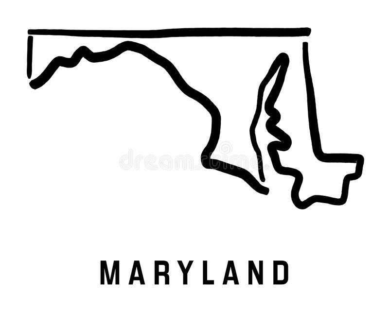 Maryland översikt royaltyfri illustrationer
