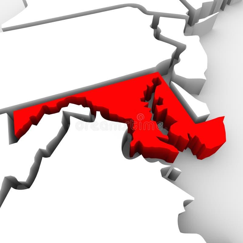 Maryland abstrakta 3D stanu Czerwona mapa Stany Zjednoczone Ameryka ilustracji