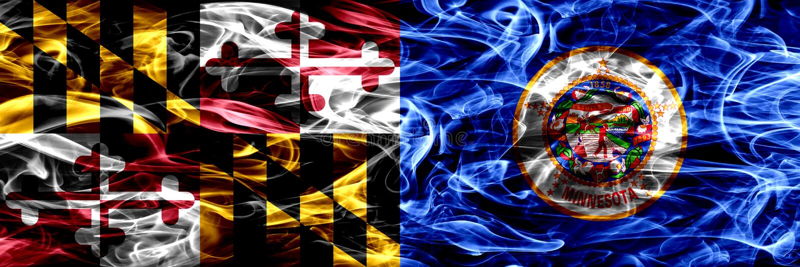 Maryland contra las banderas coloridas del humo del concepto de Minnesota colocadas de lado a lado libre illustration