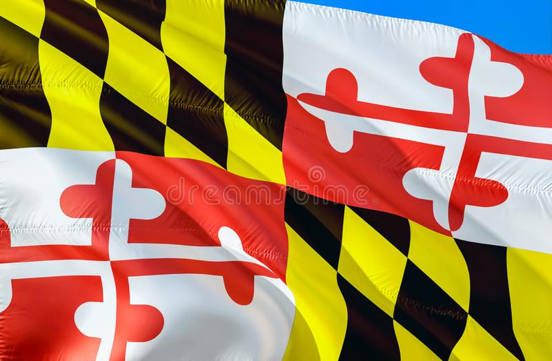 Maryland flag. 3D Waving USA state flag design. The national US symbol of Maryland state, 3D rendering. National colors and royalty free stock photos