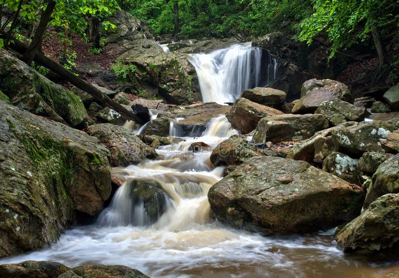 Maryland forest waterfall. Recent heavy rainstorm feeds a Maryland forest waterfall in the Patapsco State Park near Ellicott City, Maryland stock photo