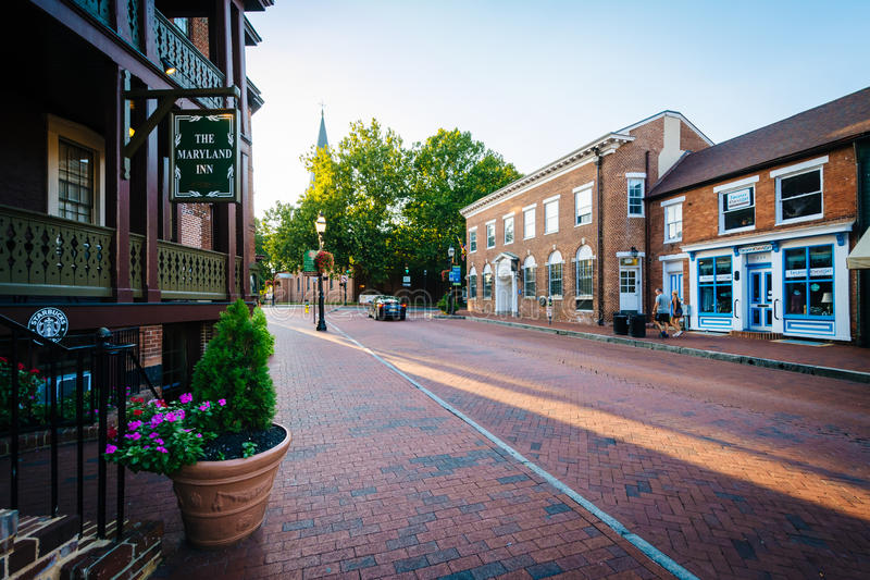 The Maryland Inn and buildings along Main Street, in downtown An royalty free stock images
