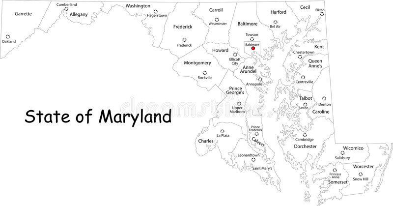 Maryland map stock vector Illustration of geography america 7381561