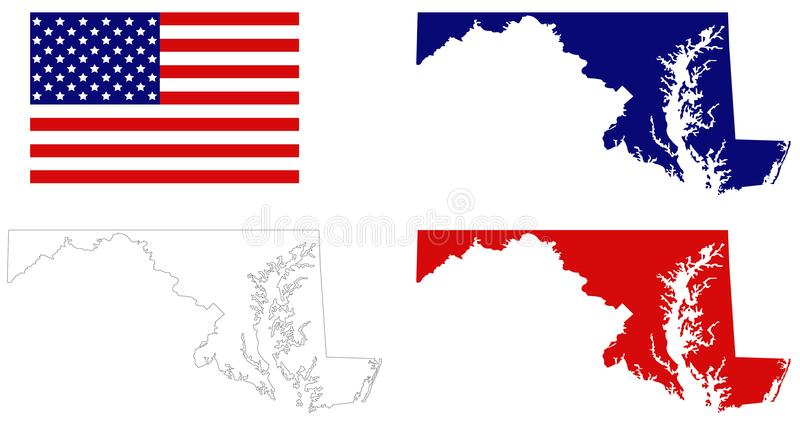 Maryland Map With USA Flag State In The MidAtlantic Region Of The