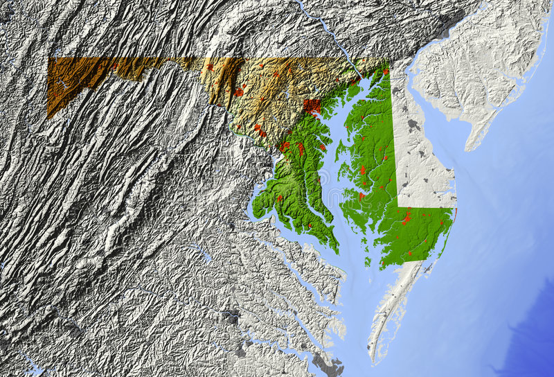 Download Maryland, Relief Map Royalty Free Stock Photos - Image: 5573518