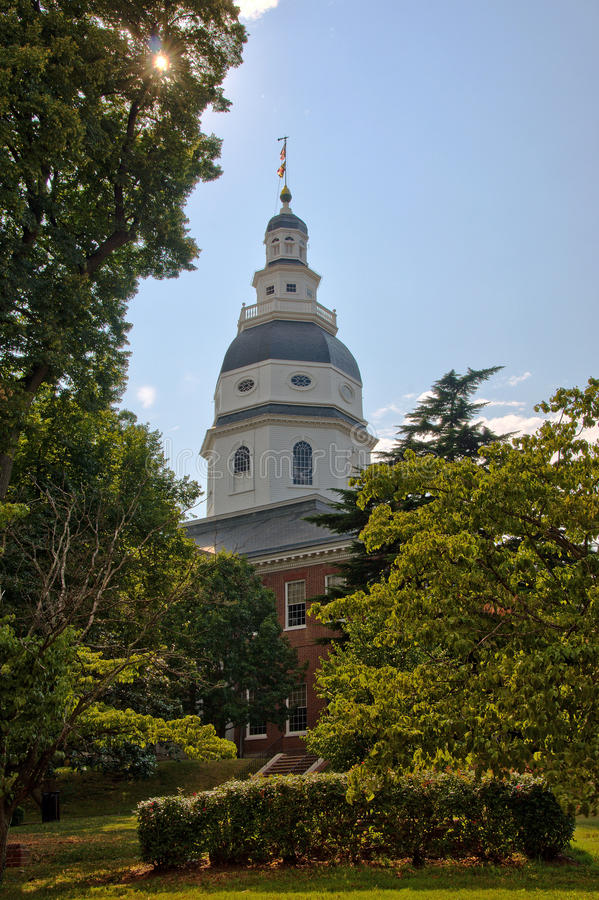 Maryland State House Dome in Annapolis, Maryland. A view of the Maryland State House Dome in Annapolis, Maryland, the oldest US state capitol building in royalty free stock photos