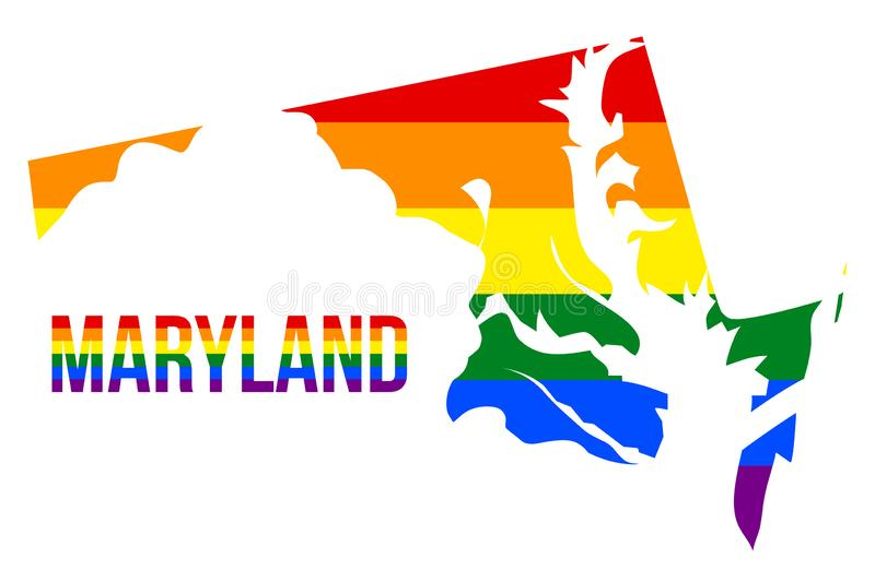 Maryland State Map in LGBT Rainbow Flag Comprised Six Stripes With Maryland LGBT Text. The Flag Comprised Six Stripes; Meaning to Each of The Colors: Life royalty free illustration