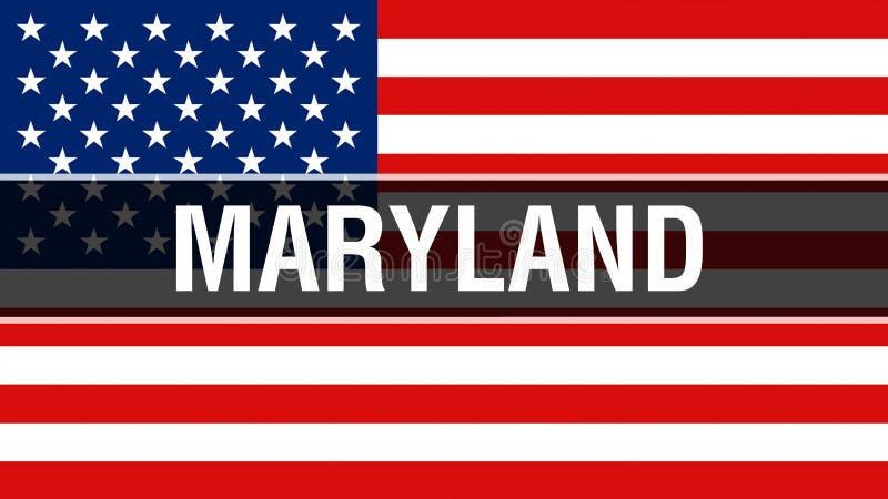 Maryland tillstånd på en USA flaggabakgrund, tolkning 3D USA flagga som vinkar i vinden stolt amerikanska flaggan stock illustrationer
