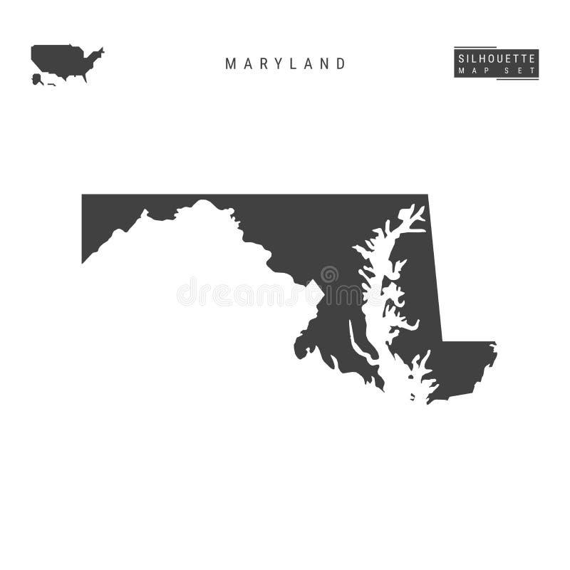 Maryland USA påstår vektoröversikten som isoleras på vit bakgrund Hög-specificerad svart konturöversikt av Maryland royaltyfri illustrationer