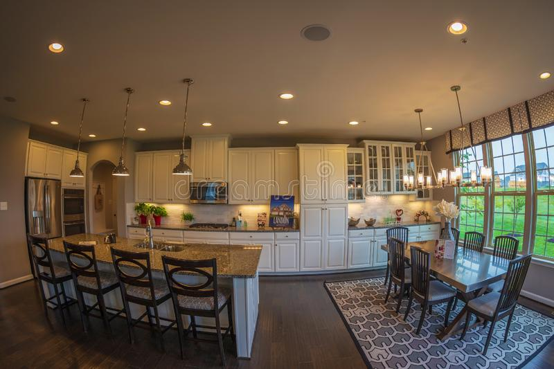 Interior of American Homes in Maryland, USA. MARYLAND, USA - SEPTEMBER 10, 2018: Interior of American Homes in Maryland. Kitchen, dining place and another royalty free stock photos