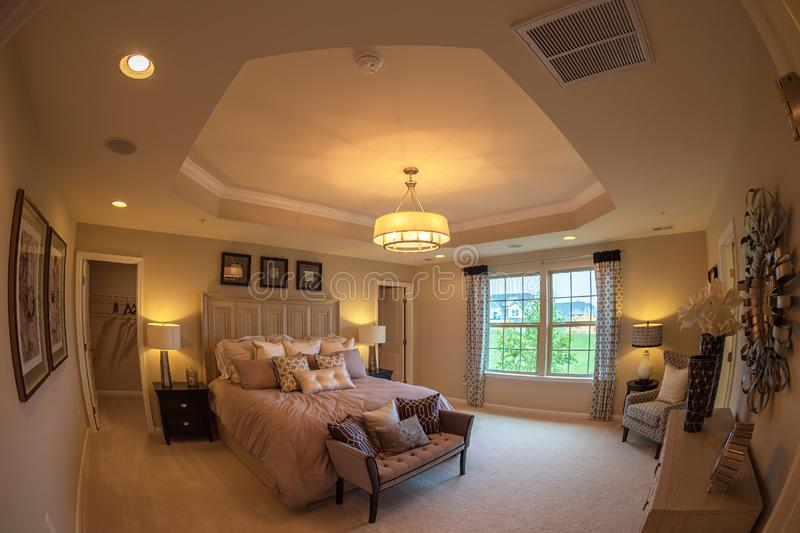 Interior of American Homes in Maryland, USA. MARYLAND, USA - SEPTEMBER 10, 2018: Interior of American Homes in Maryland. Parents` bedroom royalty free stock image