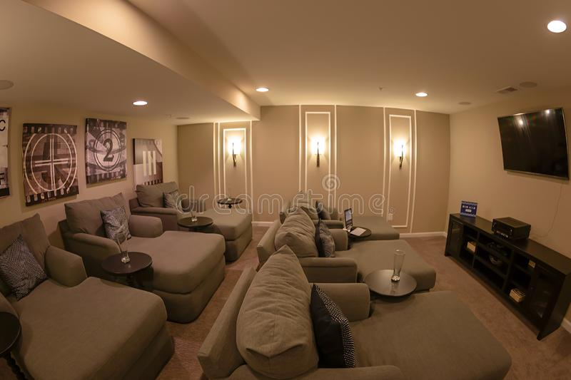 Interior of American Homes in Maryland, USA. MARYLAND, USA - SEPTEMBER 10, 2018: Interior of American Homes in Maryland. Relaxation room to watch movies royalty free stock images