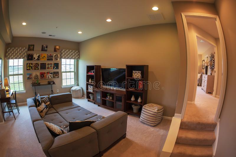 Interior of American Homes in Maryland, USA. MARYLAND, USA - SEPTEMBER 10, 2018: Interior of American Homes in Maryland. Relaxation room royalty free stock photography