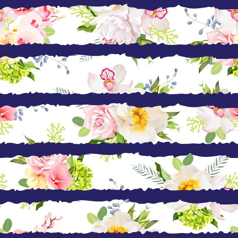 Marynarka wojenna paskował druk z bukietami dziki wzrastał, peonia, orchidea, jaskrawi ogródów kwiaty i liście, ilustracja wektor