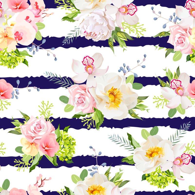 Marynarka wojenna paskował druk z bukietami dziki wzrastał, peonia, orchidea, jaskrawi ogródów kwiaty i liście, royalty ilustracja