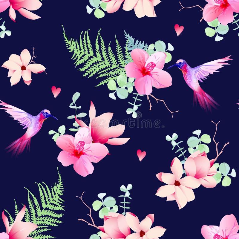 Marynarka wojenna wzór z tropikalnymi kwiatami i latań hummingbirds royalty ilustracja