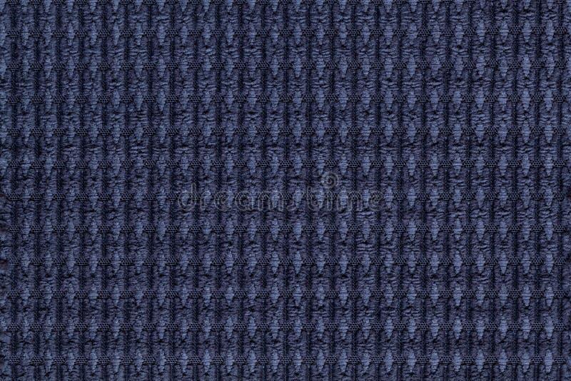 Marynarki wojennej błękita tło od miękkiego wełnistego tkaniny zakończenia up Tekstura tkaniny makro- obrazy stock
