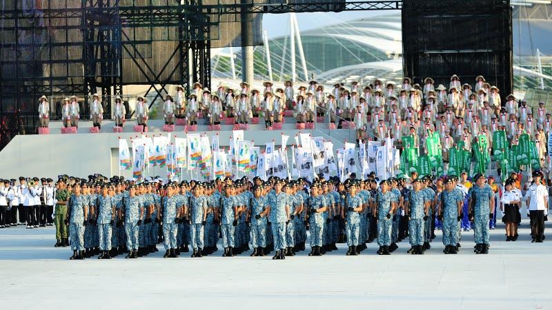 Marynarki wojennej kontyngent pozycja przy uwagą przy NDP 2012 fotografia stock