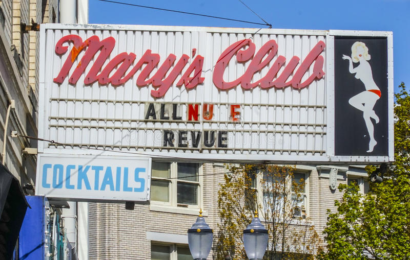Marys讽刺时事的滑稽剧俱乐部在波特兰-波特兰-俄勒冈- 2017年4月16日 库存图片