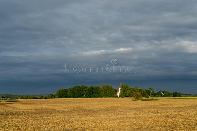 Marys Church, grain field, blue sky and natural environment. Torma in the summer, small village in Estonia. Europe stock photo