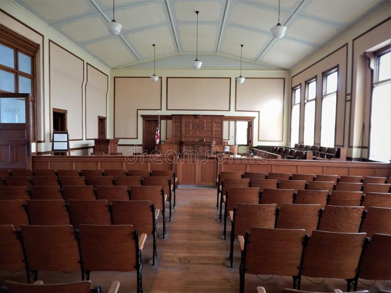 Courtroom of the Historic Marshall County Courthouse. In Marysville Kansas the Marshall County Historic courthouse has now been turned into a museum. It has a stock images
