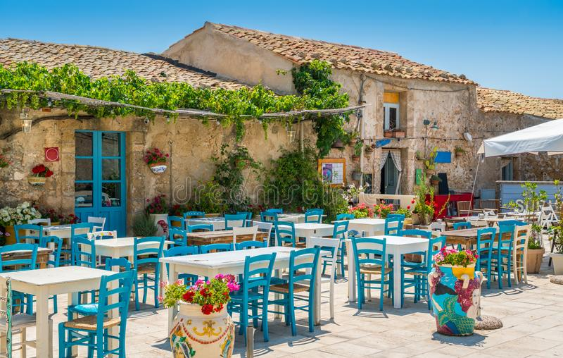 The picturesque village of Marzamemi, in the province of Syracuse, Sicily. Marzamemi is a beautiful fishing village in Sicily, near Syracuse. Its charm lies in stock images